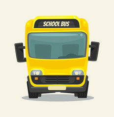 Yellow school bus. Back to school. Front view. Vector flat cartoon illustration