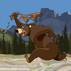 cartoon funny bear runs with pants in hand