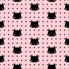 Cats Paw Print. Vector seamless pattern.