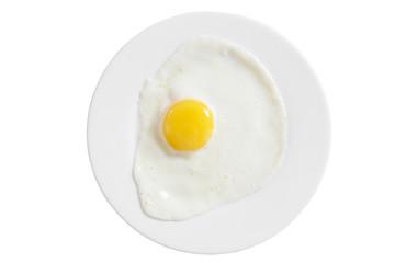 Foto op Canvas Gebakken Eieren fried eggs on a white plate