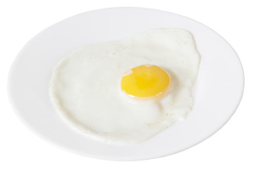 fried eggs on a white plate