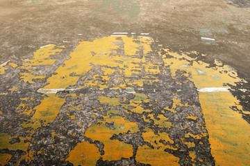 Old painted concrete floor. Ruin basketball court.