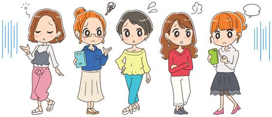 若い女性グループのイラスト(全身)