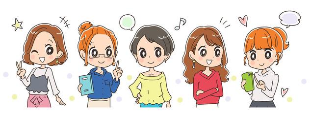 若い女性グループのイラスト