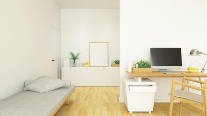 workplace and living area in house or condominium - 3D Rendering