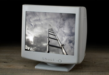 Image ladder, aspiring to the sky on a computer screen