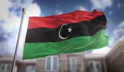 Libya Flag 3D Rendering on Blue Sky Building Background