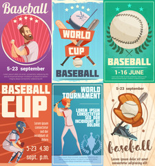 Set Of Baseball Posters In Retro Style