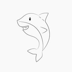 cute shark line art vector
