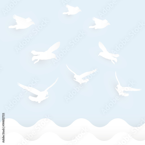 bird flying on sky bird shape paper cutout template for greeting