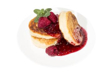 Cheese pancake with raspberries jam