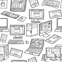 hand drawn computers laptop and gadget seamless pattern