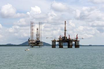 Oil rigs located near the Tangjung Langsat Port in Pasir Gudang, Johor Malaysia.