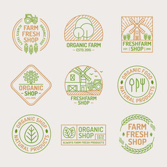 Farm fresh and organic shop logo set color line style isolated on background for healthy food market, natural product company, vegan cafe, eco store, nature firm, garden, farming. Vector Illustration