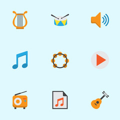 Audio Flat Icons Set. Collection Of Sonata, Broadcasting, Rhythm And Other Elements. Also Includes Symbols Such As Radio, Audio, Philharmonic.