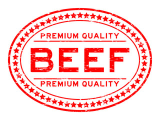 Grunge red premium quality beef oval rubber stamp