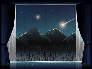 view of meteor shower over mountain at night in room with large window