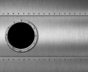 Wall Mural - metal submarine or rocket porthole window 3d illustration