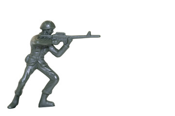 Miniature toy soldier on white background with clipping path