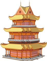 Japanese pagoda. Asian Palace in vector form on a transparent background