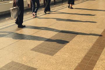 people walking goto business with morning sunrise