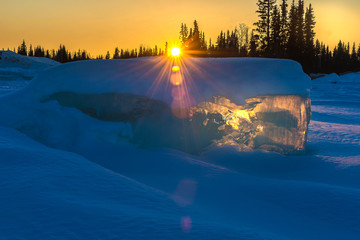 Landscape of Alaska during sunset in the winter