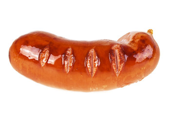 Fried sausage isolated on a white background
