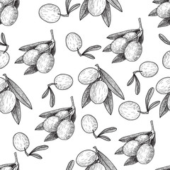 Seamless pattern Vector black ink hand drawn olive twig illustration. Vintage illustration.