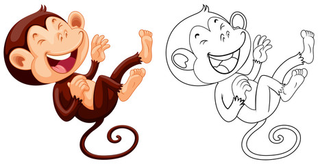 Animal outline for monkey laughing