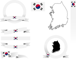 Korea Banner Set. Vector graphic flags, banners and ribbons of South Korea.