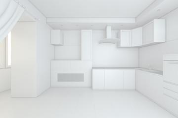 Empty clean new white kitchen. 3d Rendering.