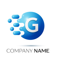 G Letter splash logo. Blue dots and circle bubble letter design on grey background. Vector Illustration