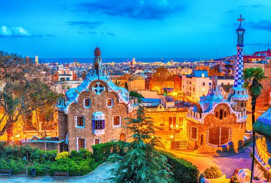 Barcelona, Catalonia, Spain: thePark Guell of Antoni Gaudi at sunset