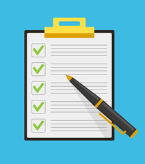 Clipboard check list marks with pen. Vector flat cartoon illustration