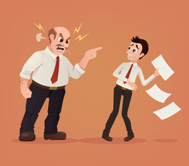 Angry boss character yelling at employee office worker. Vector flat cartoon illustration