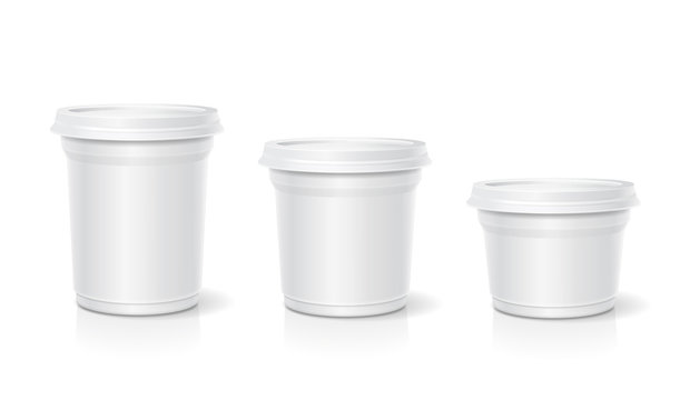 White blank container for dessert, yogurt, ice cream, Vector set