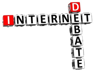 3D Internet Debate Crossword on white background