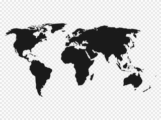 Wall Mural - Black World map silhouette on transparent background. Vector illustration.