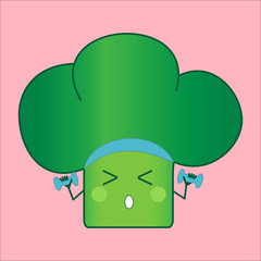 Illustration funny and healthy broccoli (Brassica oleracea). Pink background. Sport activities