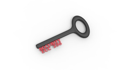 3d rendering of key with encrypted method with white background