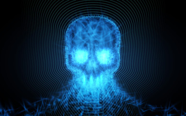 Abstract skull from light particles on dark background. Vector illustration.
