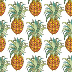 Stylized colorful pineapple. Vector seamless pattern