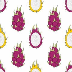 Dragon fruit. Vector seamless pattern for design