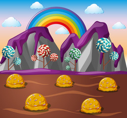 Candy land with chocolate river and lolipop trees
