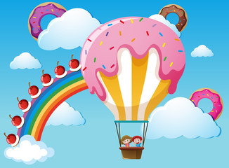 Scene with rainbow and candy balloon