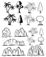 Doodles nature set with trees and rocks