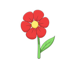 Cartoon red flower on white background.