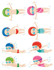 Kids doing different swimming strokes