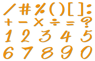 Numbers and simple signs in orange color