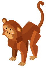 Brown monkey in 3D design
